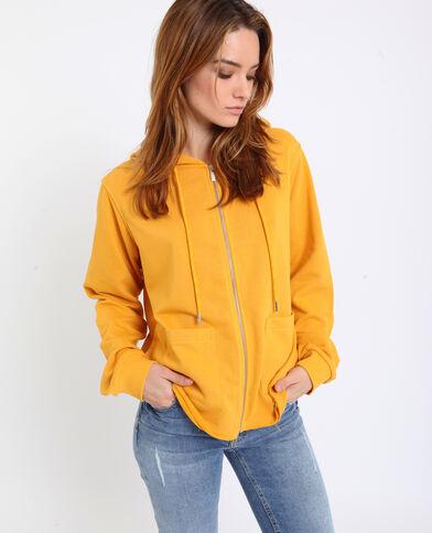 Gilet à capuche jaune