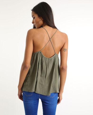Topje met gekruiste schouderbandjes groen