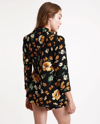 Jasje met bloemenprint zwart