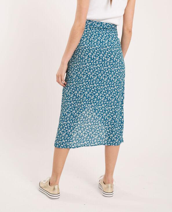 Halflange rok met bloemenprint blauw