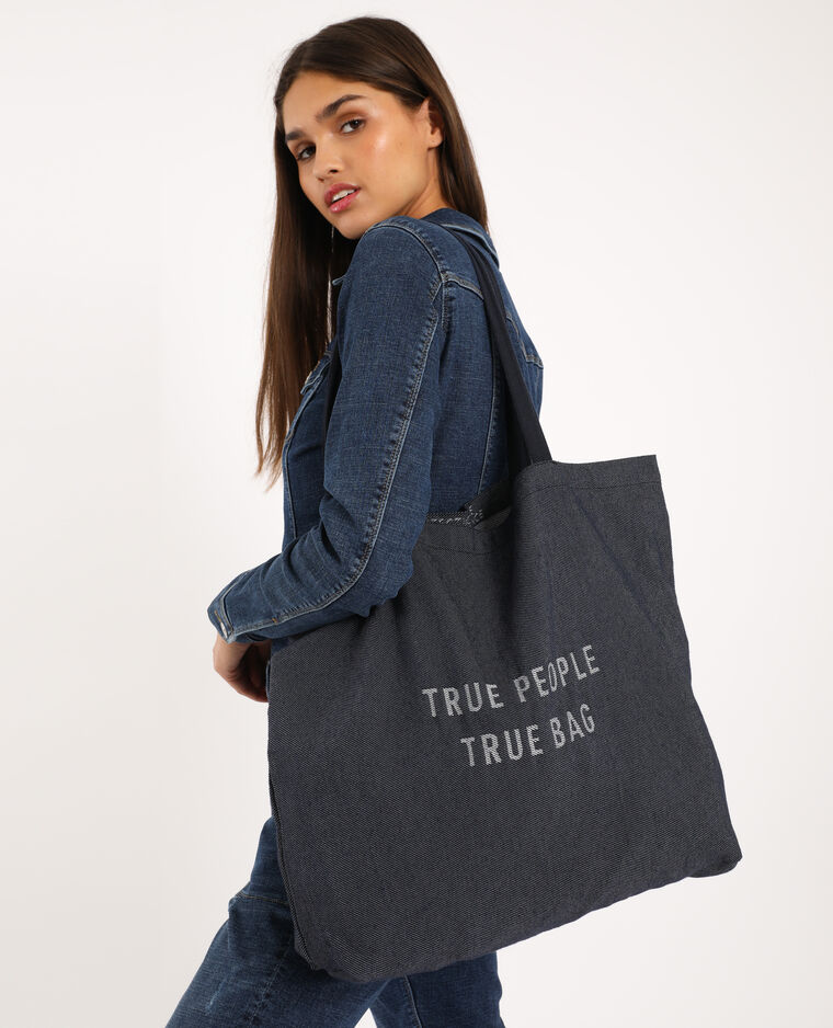 Grand tote bag 100% recyclé bleu