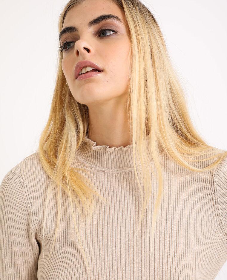 Petit pull côtelé beige - Pimkie