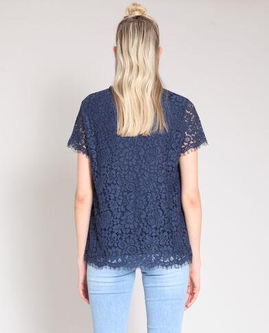 Kanten blouse marineblauw