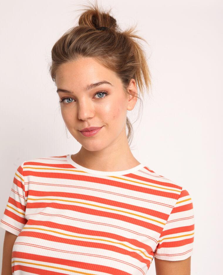 T-shirt à rayures orange