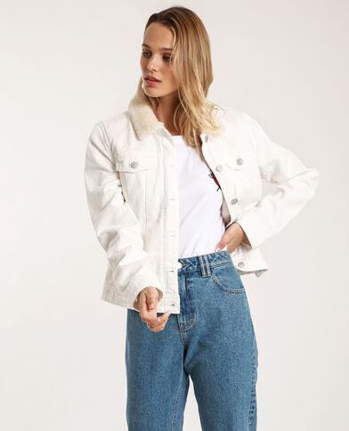 Gevoerd jeansjasje ecru