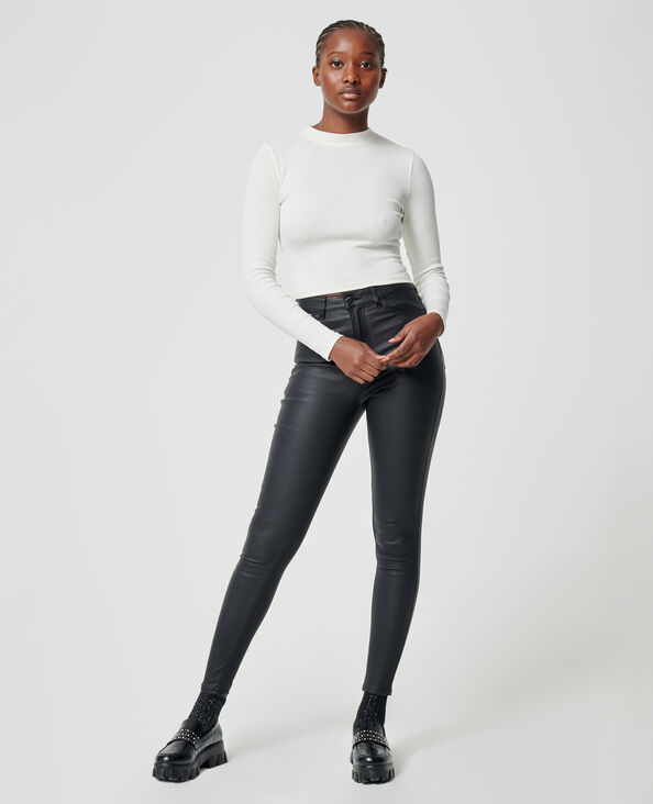 Skinny jeans met coating zwart - Pimkie