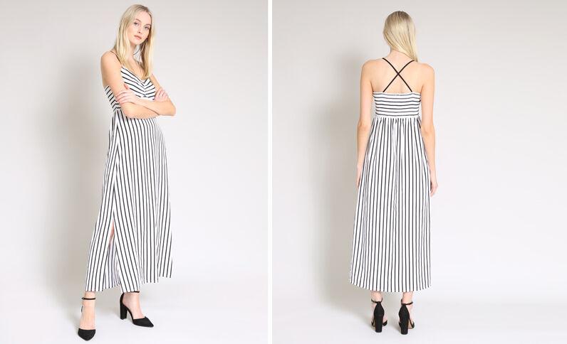 Lange jurk met strepen wit