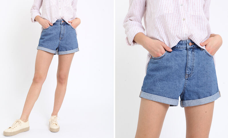 Short en jean high waist bleu denim
