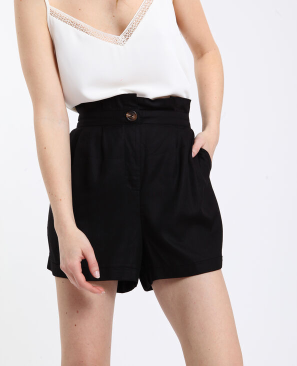 Soepelvallende short met hoge taille zwart