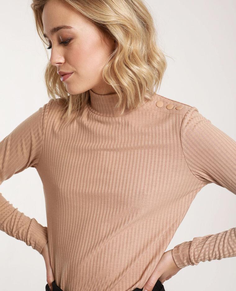 T-shirt côtelé beige - Pimkie