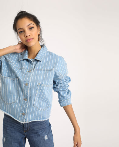 Gestreept jeansjasje Lichtblauw
