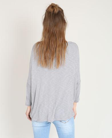 T-shirt met gekruiste hals gemêleerd grijs