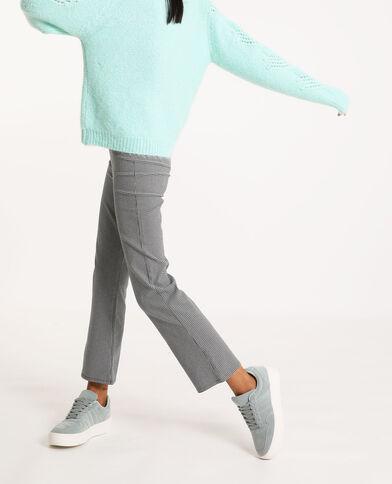 Pantalon fin à carreaux noir