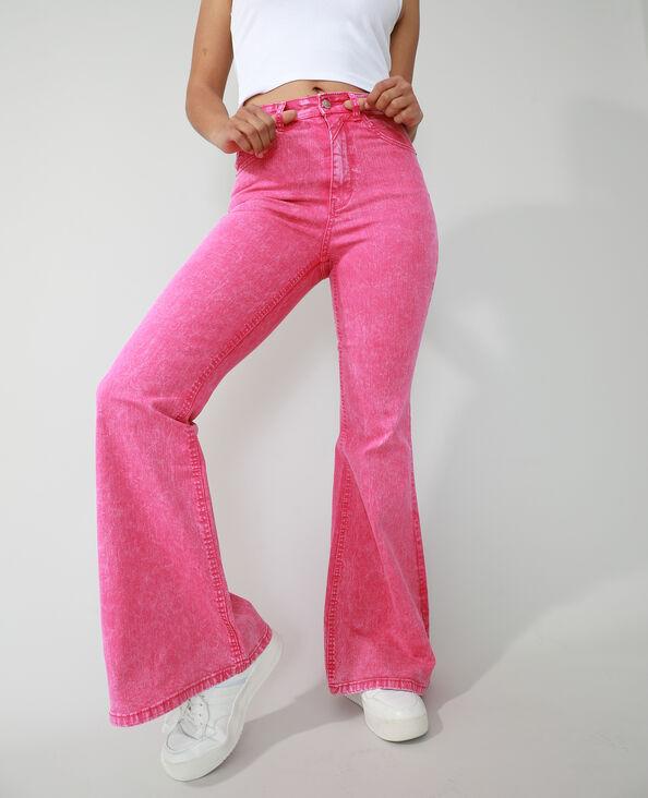 Flared jeans met hoge taille roze - Pimkie
