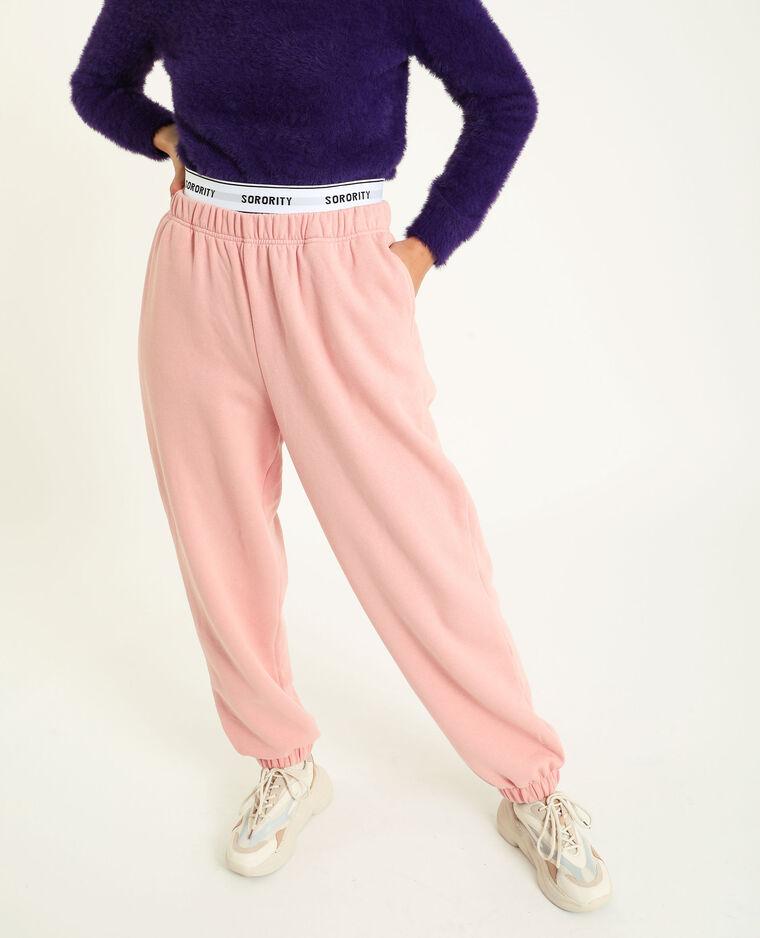 Pantalon molleton loungwear rose