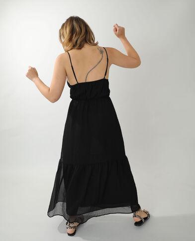 Lange jurk van wafelstof zwart - Pimkie