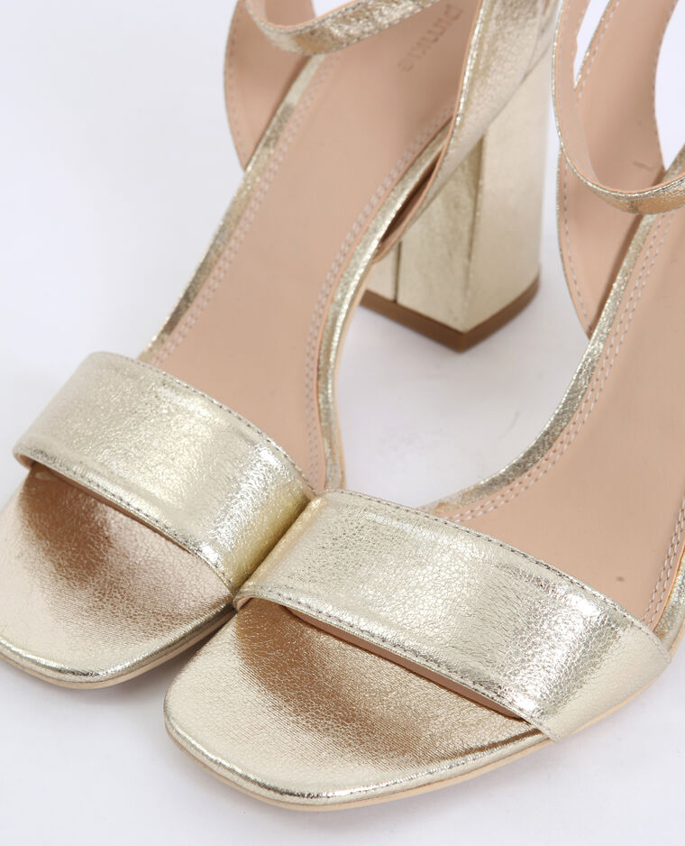 Sandales à talons larges jaune