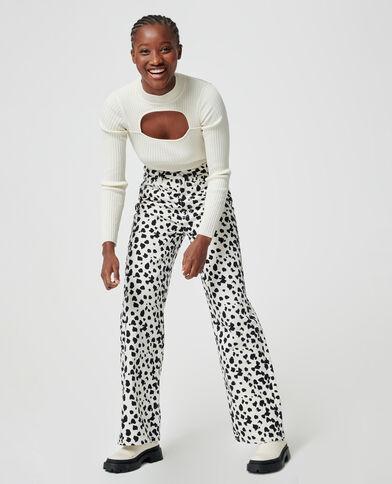 Jeans met brede pijpen zwart - Pimkie