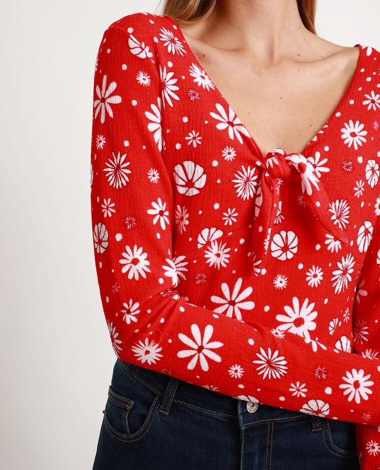Top à fleurs rouge