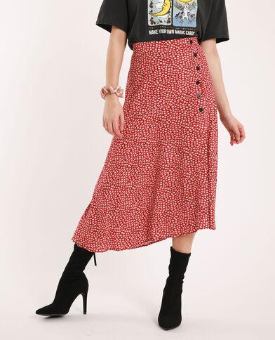 Halflange rok met bloemenprint rood
