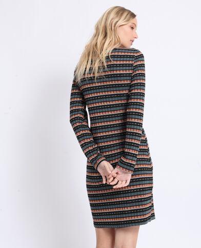 Jurk van geribbeld tricot zwart