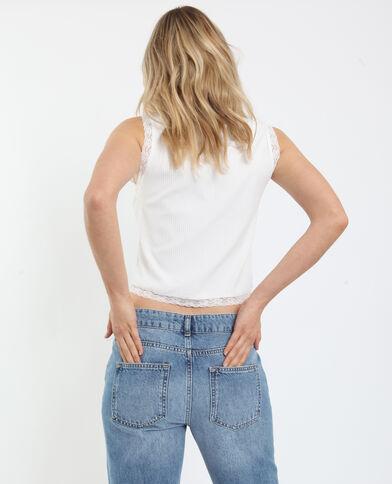 Kort topje met kant wit