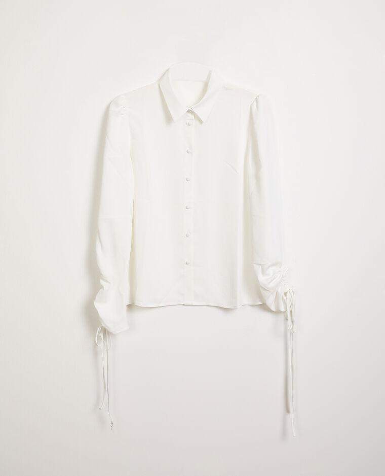 Chemise manches retroussables blanc cassé