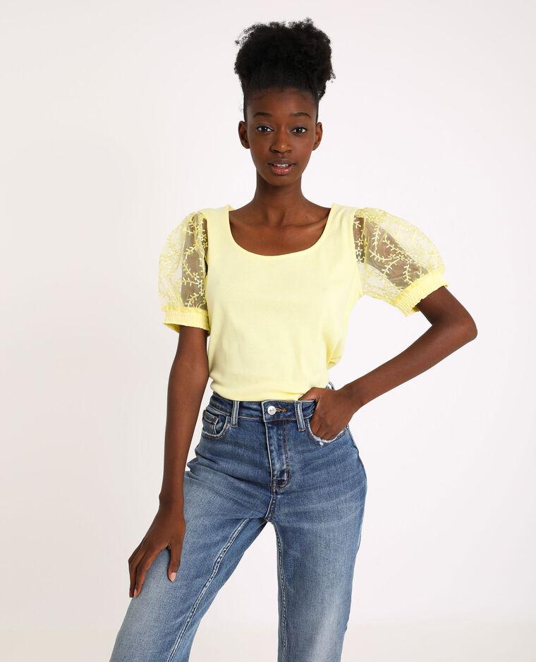 Shirt met ballonmouwen geel - Pimkie