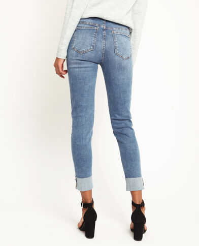 Jean slim à revers bleu denim