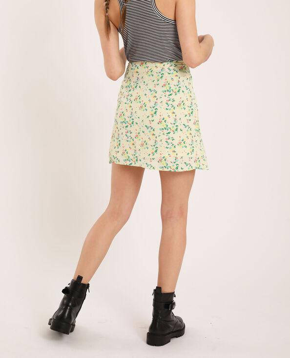 Korte rok met bloemenprint geel