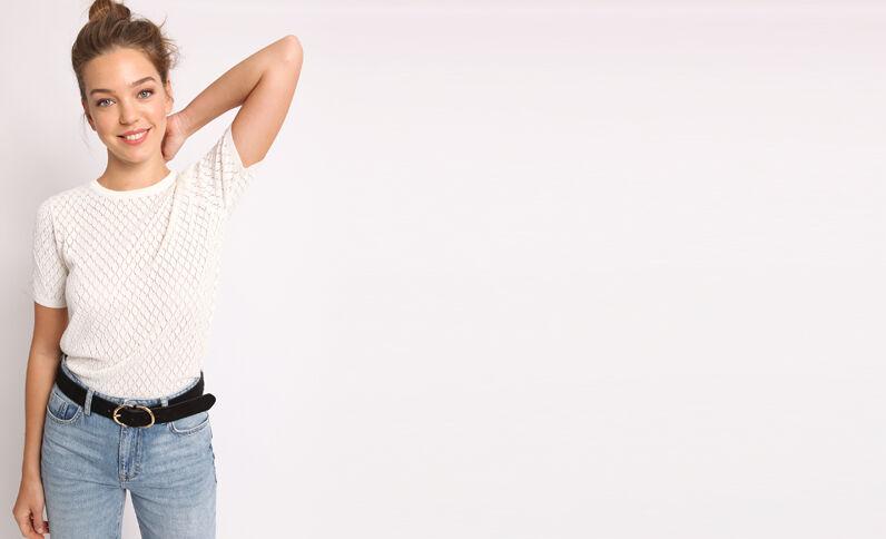 Opengewerkt T-shirt wit