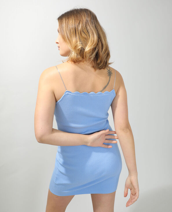 Strakke jurk met kettingbandjes blauw - Pimkie