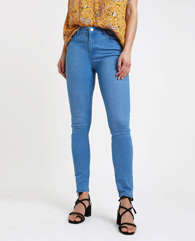 Skinny jeans met middelhoge taille verwassen blauw