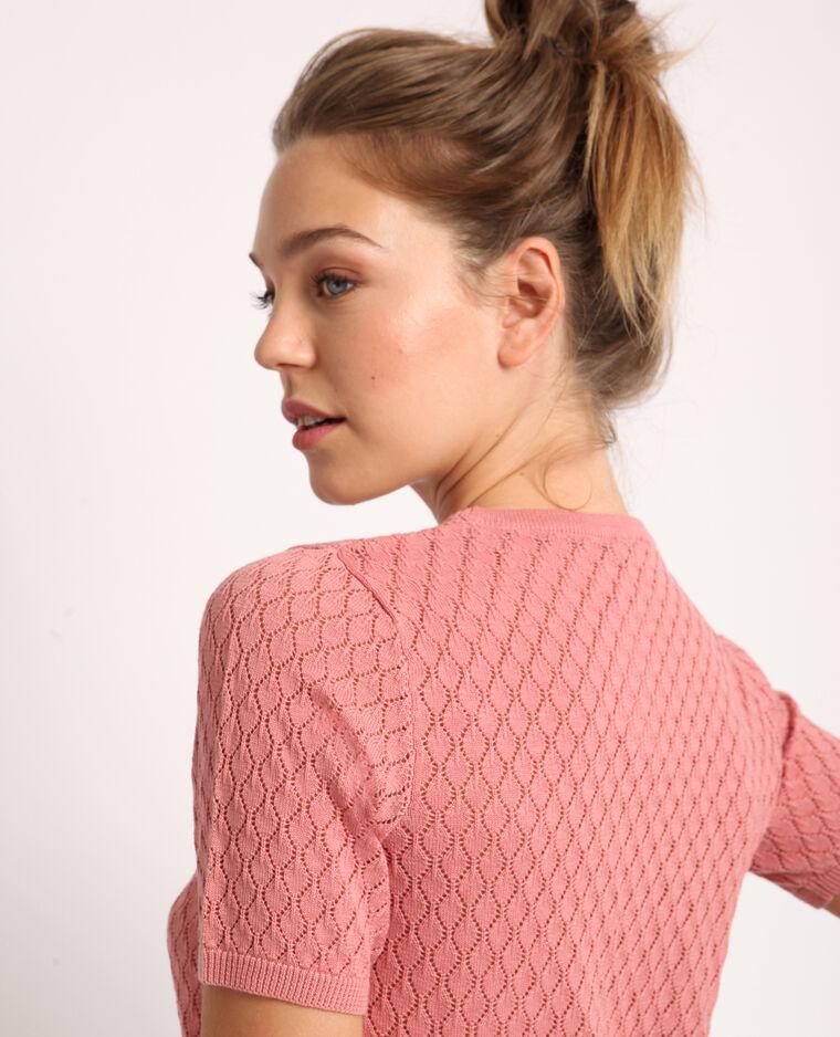 Opengewerkt T-shirt roze