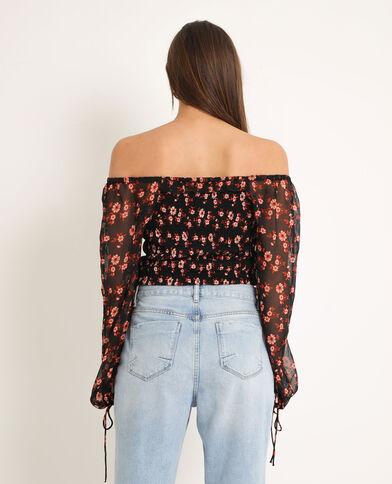 Shirt met smokwerk zwart + rood