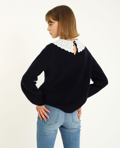 Pull col broderie anglaise bleu marine