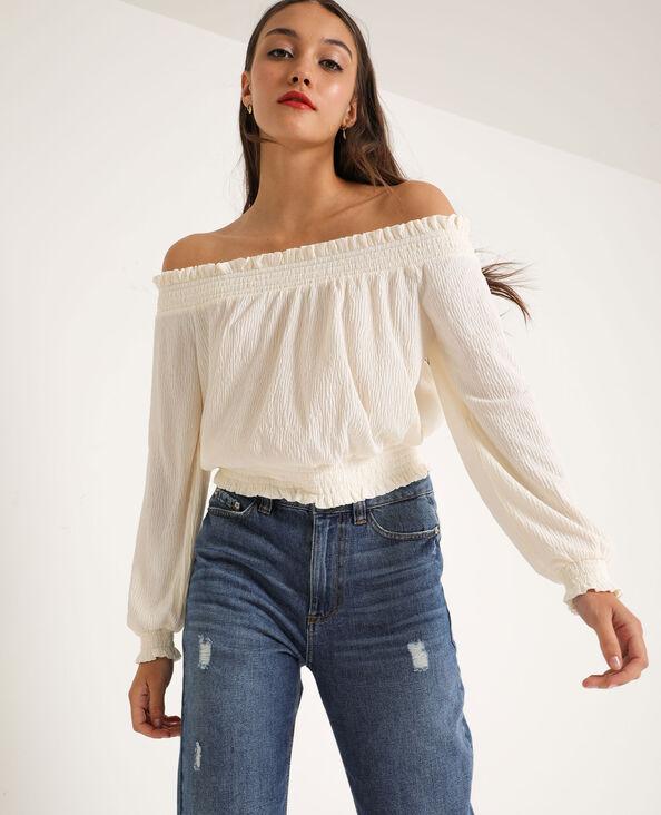 Shirt met bardothals gebroken wit