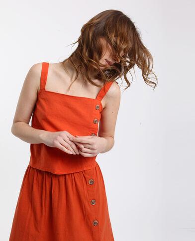 Top boutonné orange