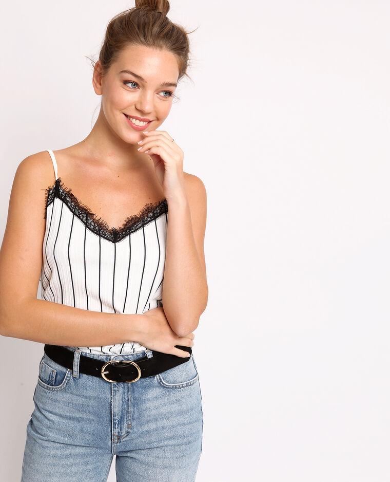 Topje met dunne schouderbandjes gebroken wit