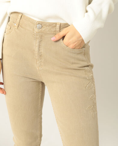 Geborduurde skinny broek beige