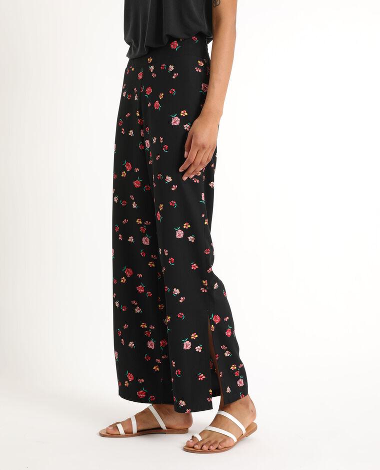 Pantalon fluide à fleurs noir + rouge