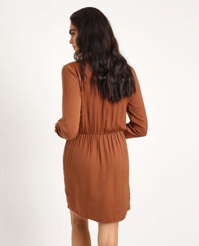 Robe satinée marron