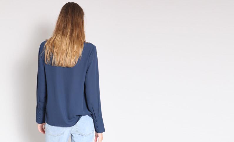 Soepelvallend hemd marineblauw