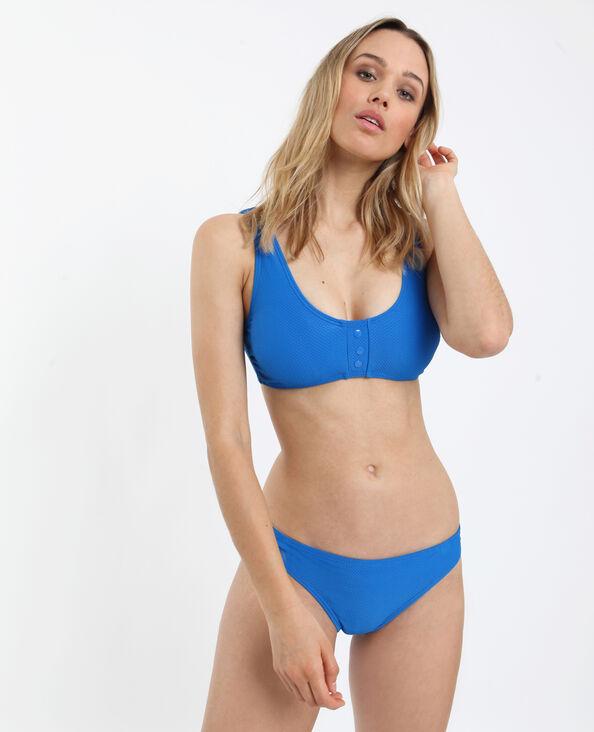 Bikinitop met wafeltextuur blauw