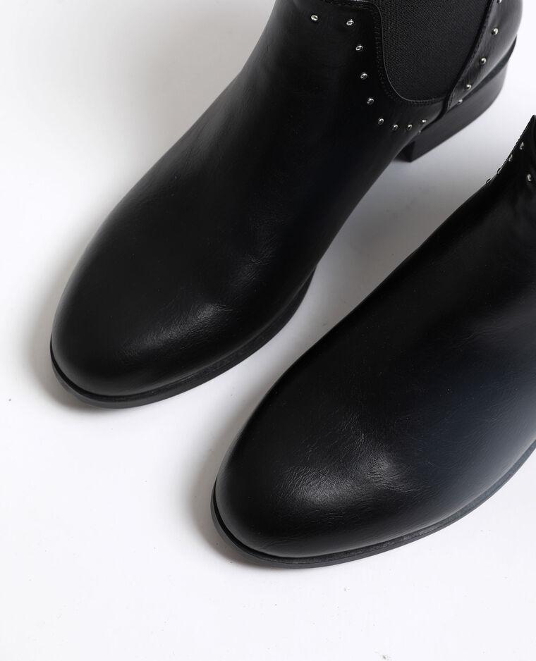 Bottines plates en cuir synthétique noir