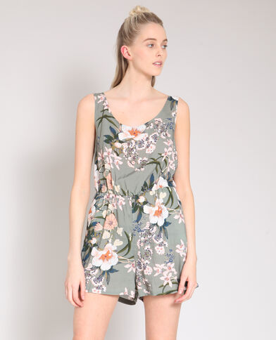 Playsuit met open rug kaki
