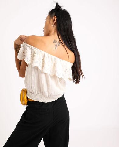 Shirt met borduursels beige