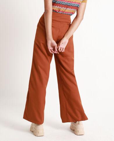 Soepelvalende broek met brede pijpen kastanjebruin
