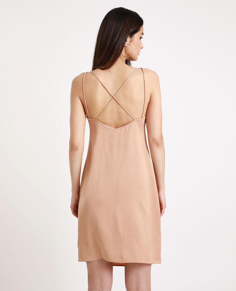 Satijnachtige jurk met dunne bandjes kastanjebruin