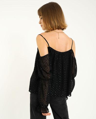 Blouse met blote schouders zwart